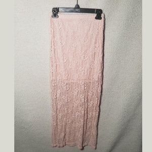 Floor length pink lace skirt